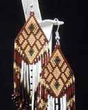 Ruby & Gold Native American Beaded Earrings