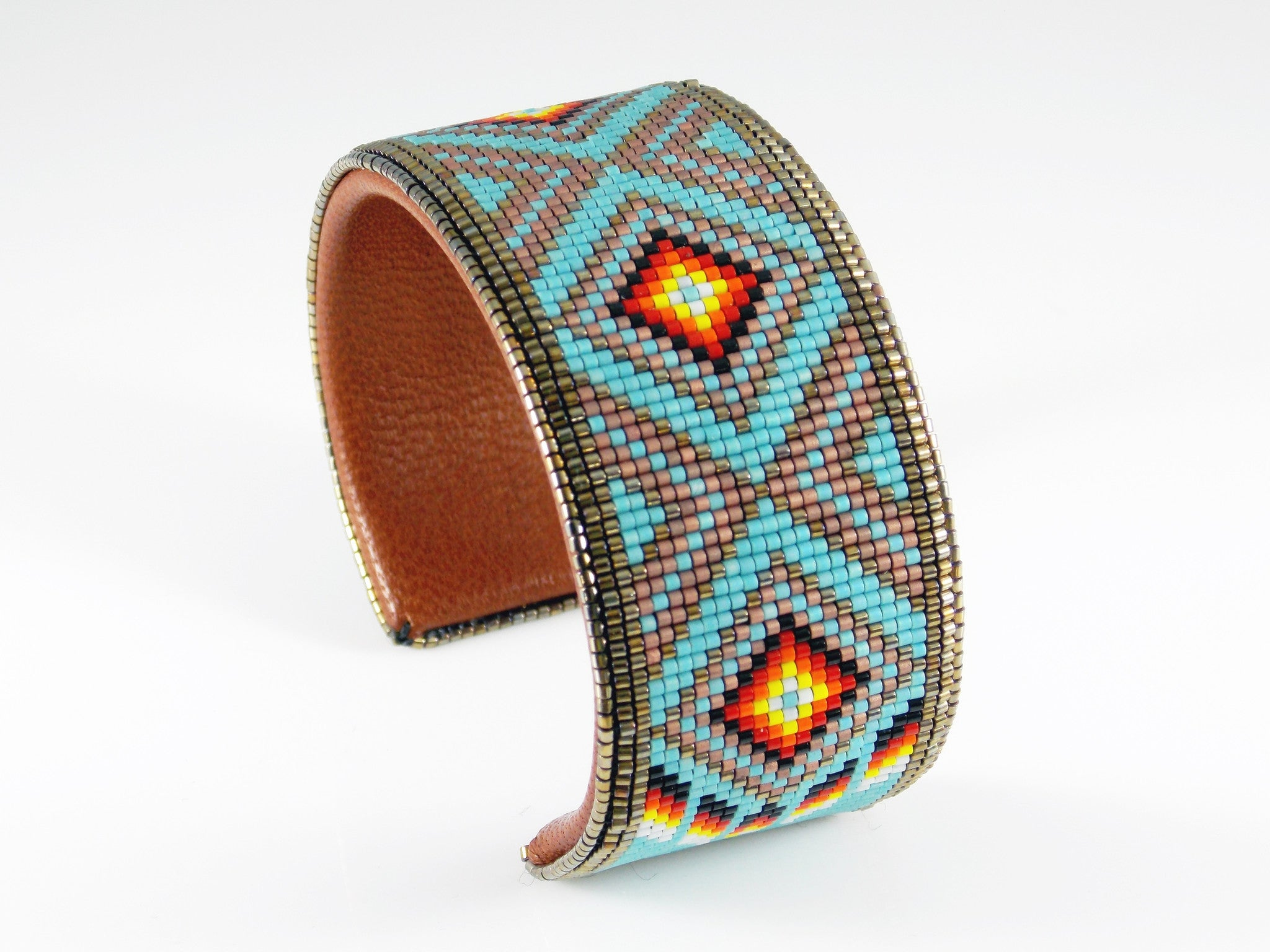 Native American Beaded Blue Diamond Back Cuff Bracelet
