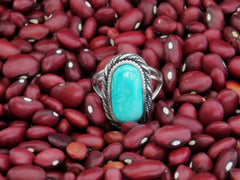 Sleeping Beauty Turquoise Sterling Silver Ring Hand Made By LJ Greywolf