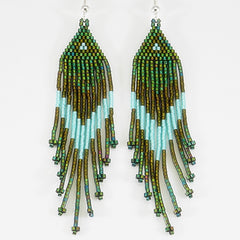 Metallic Greens And Dark Sea Foam Native American Beaded Earrings
