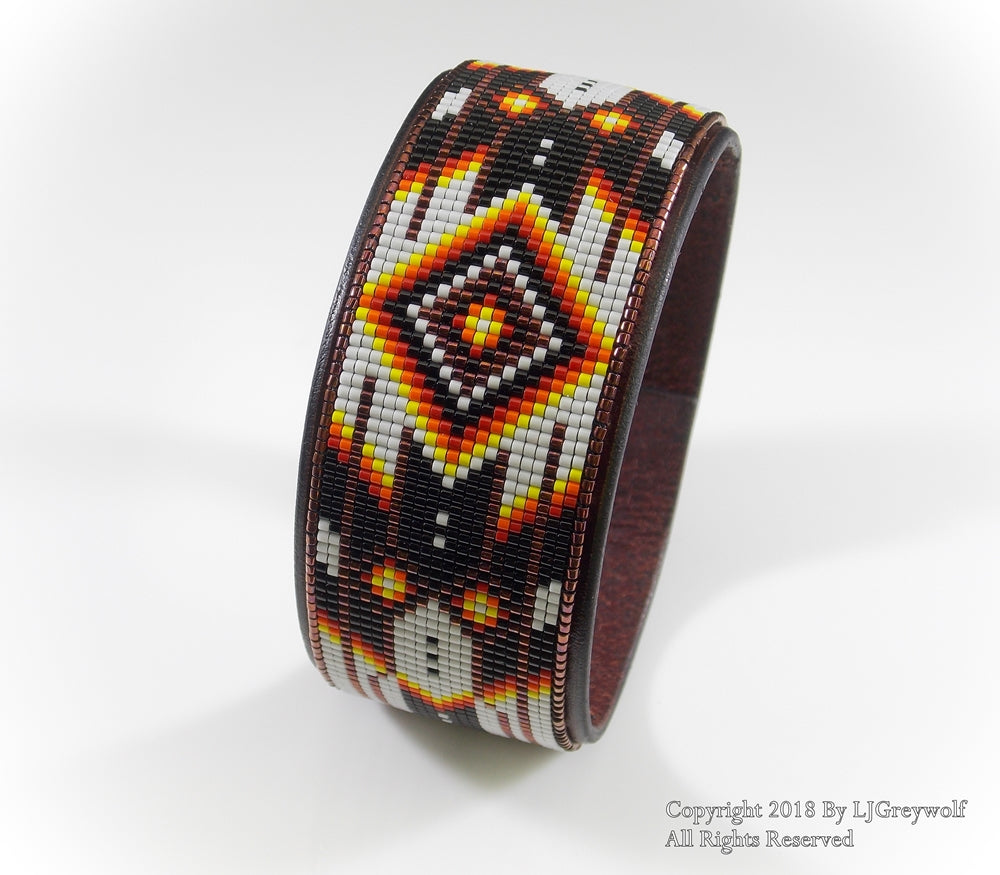 Copper Chevron Beaded Leather Cuff Bracelet