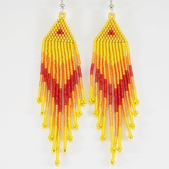 Yellow, Mandarin Orange And Dark Red Native American Beaded Earrings