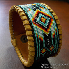 Native American Beaded Chevron Leather Bracelet