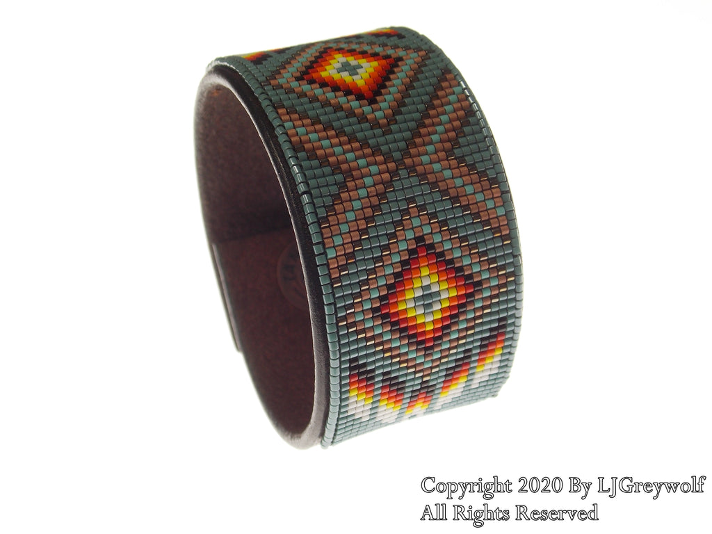 Native American Beaded Teal Diamond Leather Bracelet