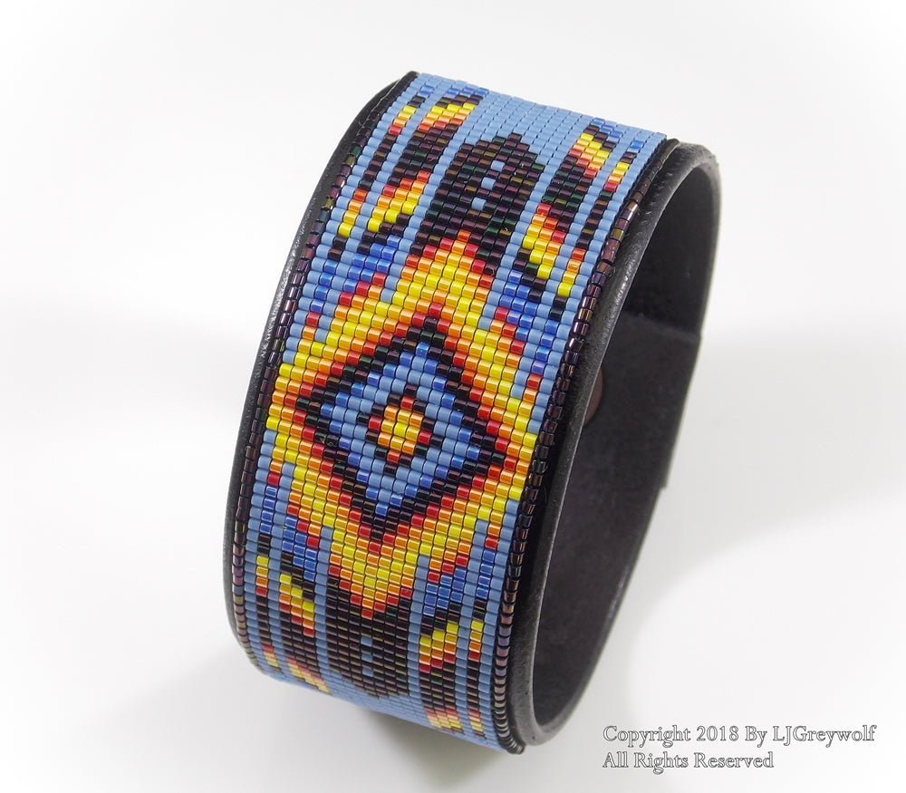 Purple Fire Native American Beaded Leather Cuff Bracelet