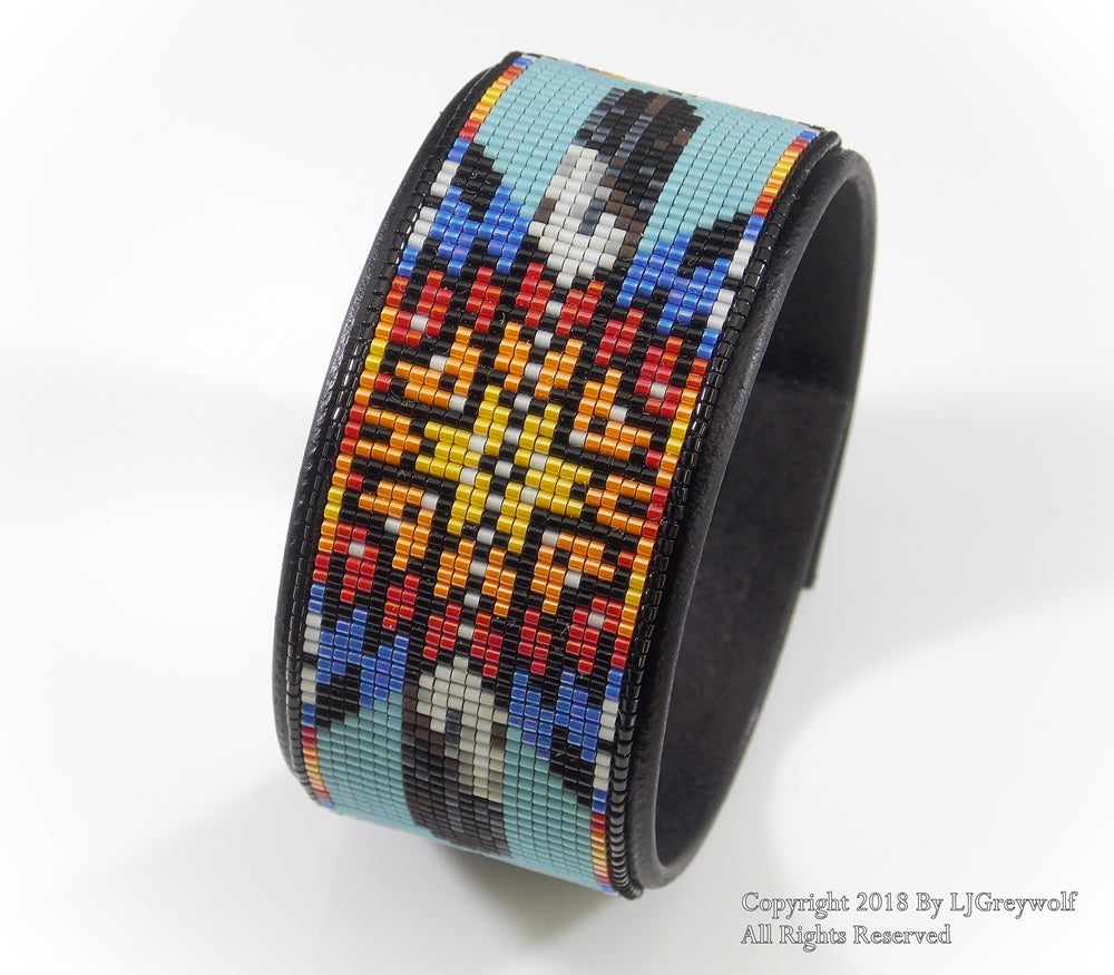 Turquoise Starburst Native American Beaded Leather Cuff Bracelet