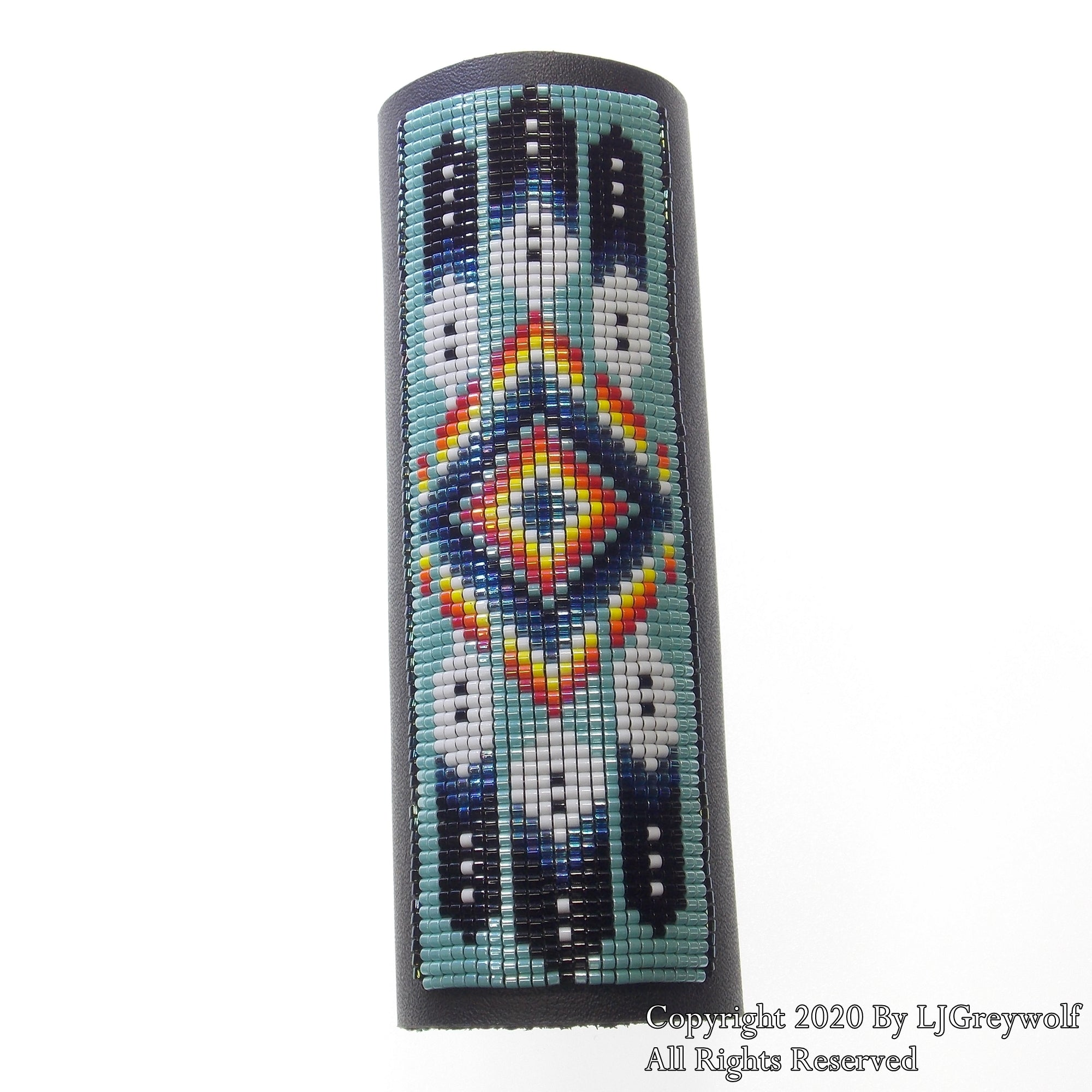Turquoise Feather And Flame  Beaded Leather Hair Wrap