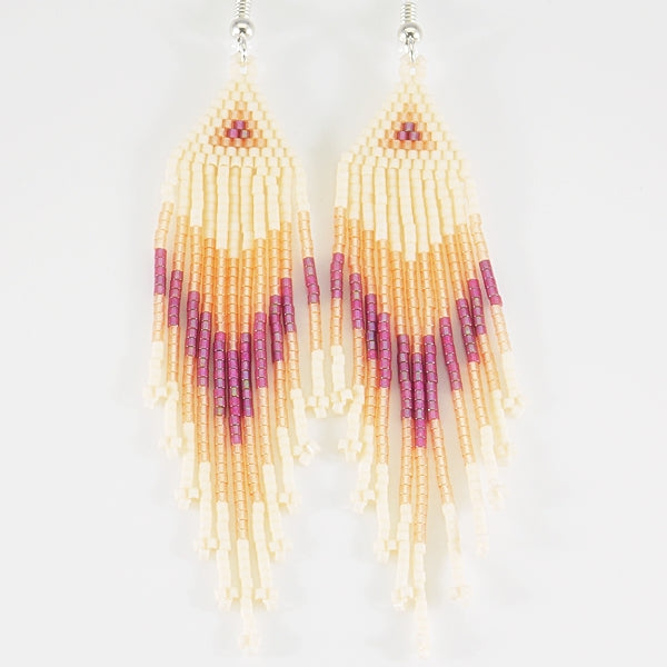 Peaches N Cream And Tangerine Dream Native American Beaded Earrings