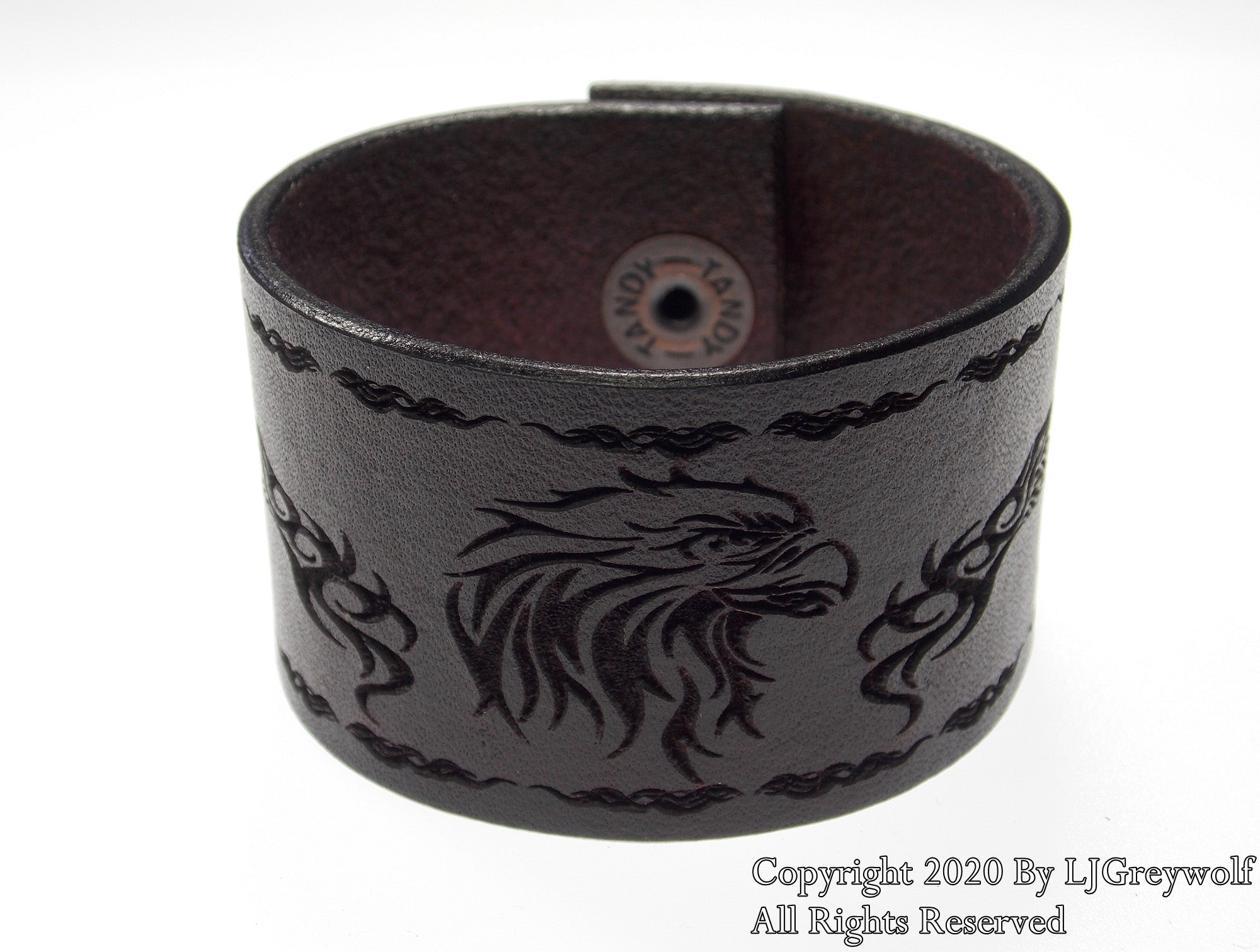 The Tribal Eagle Hand Carved Leather Bracelet In Antique Mahogany