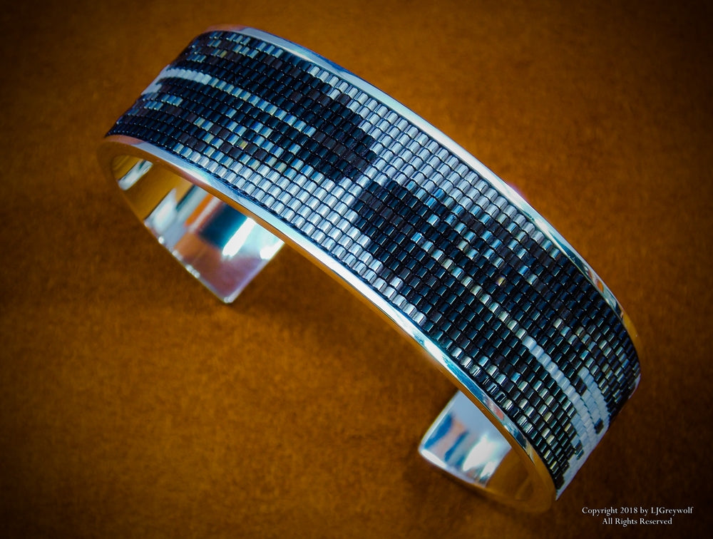 Eagle Feathers Sterling Silver Beaded Inlay Cuff Bracelet
