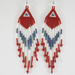 Red, White And Blue Native American Beaded Earrings