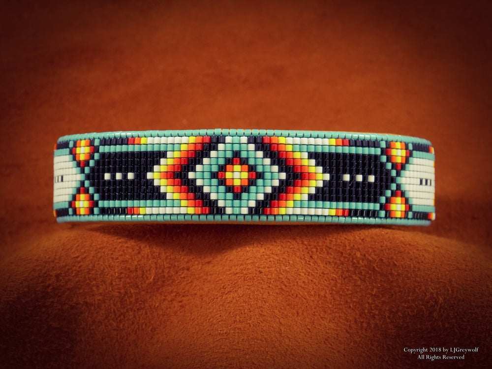 Native American Beaded Cherokee Chevron Cuff Bracelet
