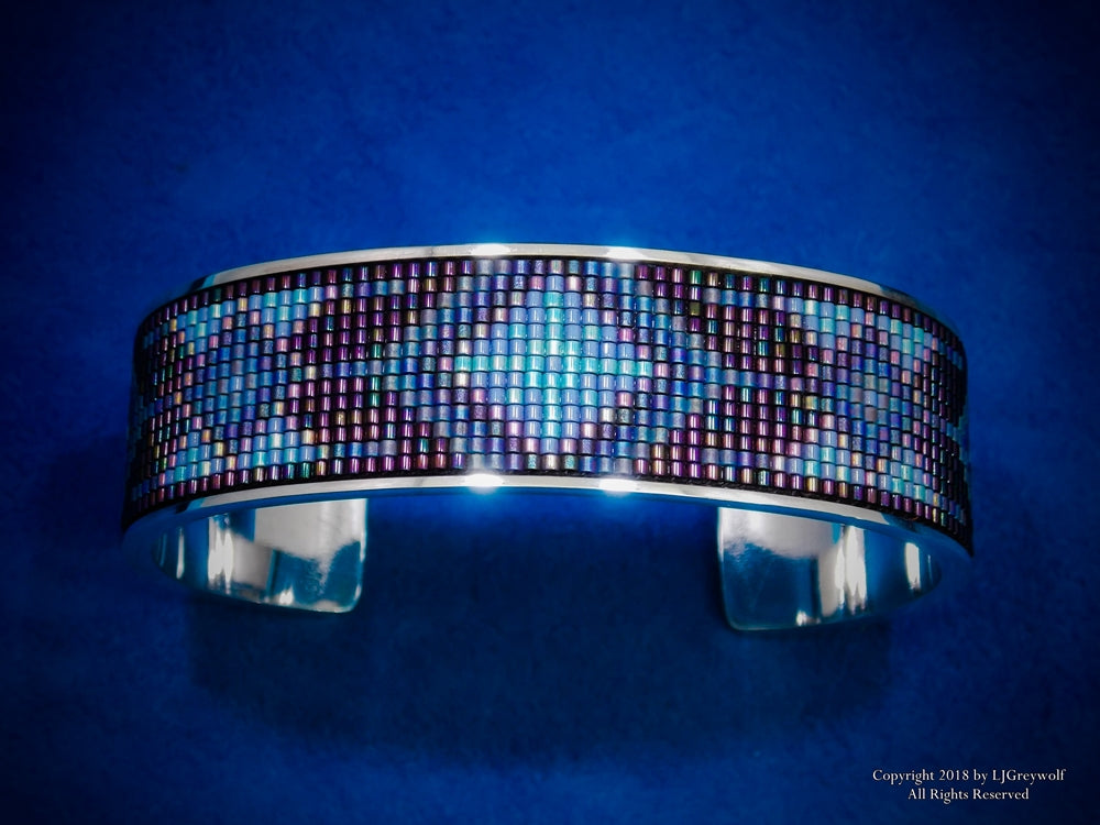 Purple Midnight Sterling Silver Beaded Inlay Cuff Bracelet