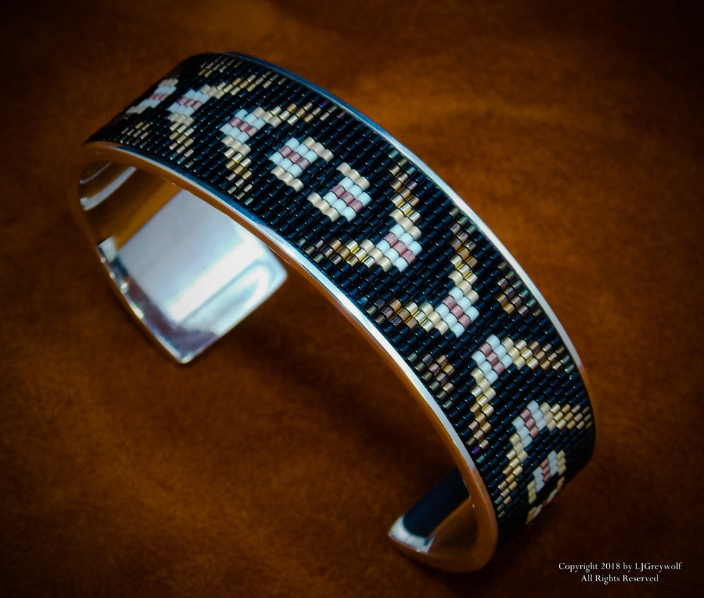 Eye Of The Medicine Man Sterling Silver Beaded Inlay Cuff Bracelet