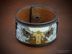 Beaded Eagle Leather Cuff Bracelet