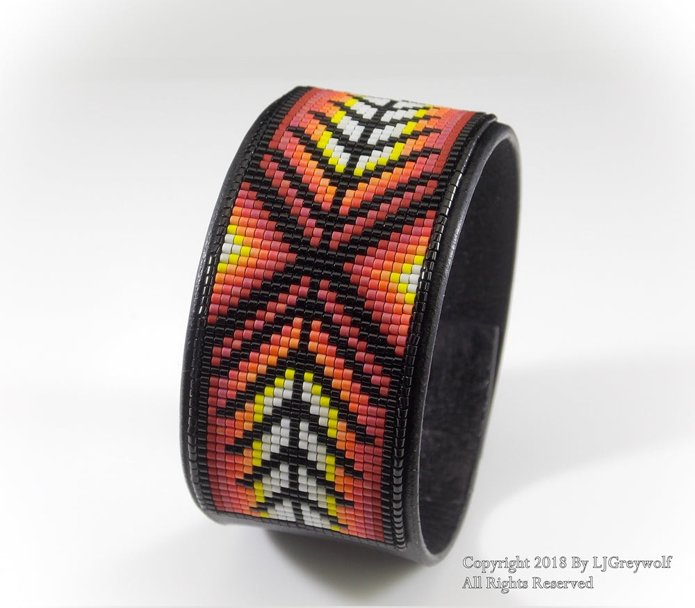 Southwest Sunset Herringbone Native American Beaded Leather Cuff Bracelet