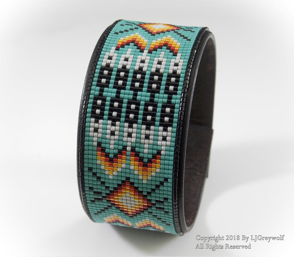Turquoise Twenty Feathers Native American Beaded Leather Cuff Bracelet