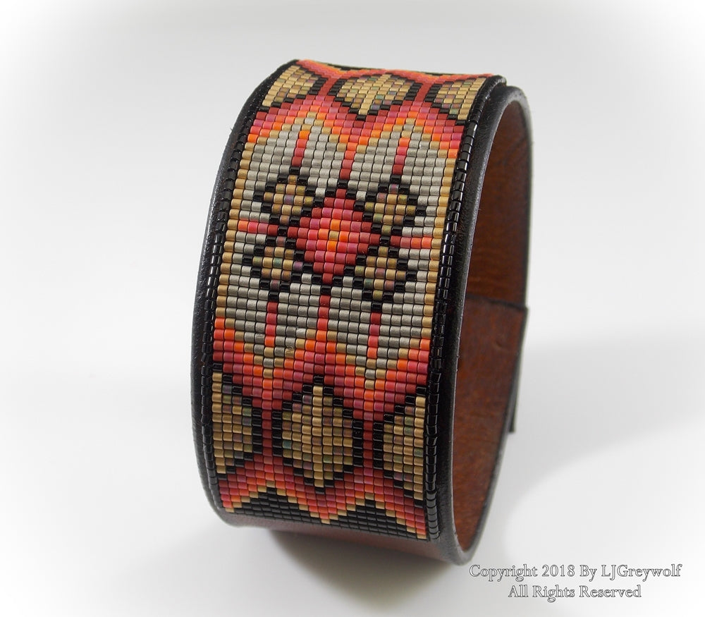 Golden Star Native American Beaded Leather Cuff Bracelet