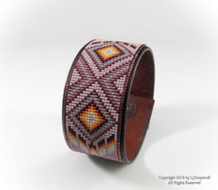Cheyenne Pink Diamond Back Beaded Leather Cuff Bracelet