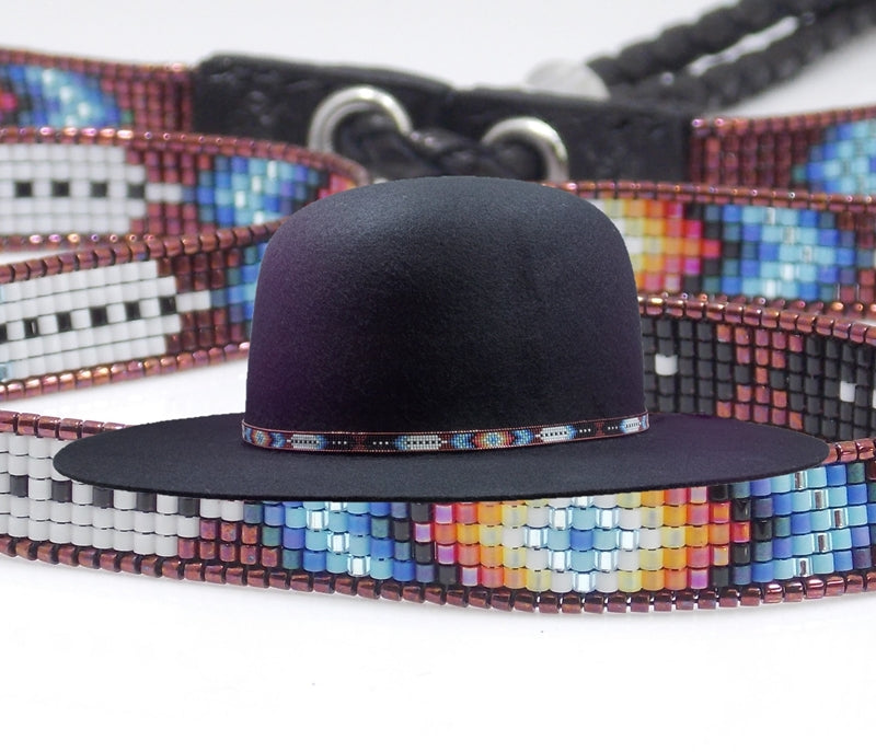 Native American Beaded Copper Diamond Feather Hat Band