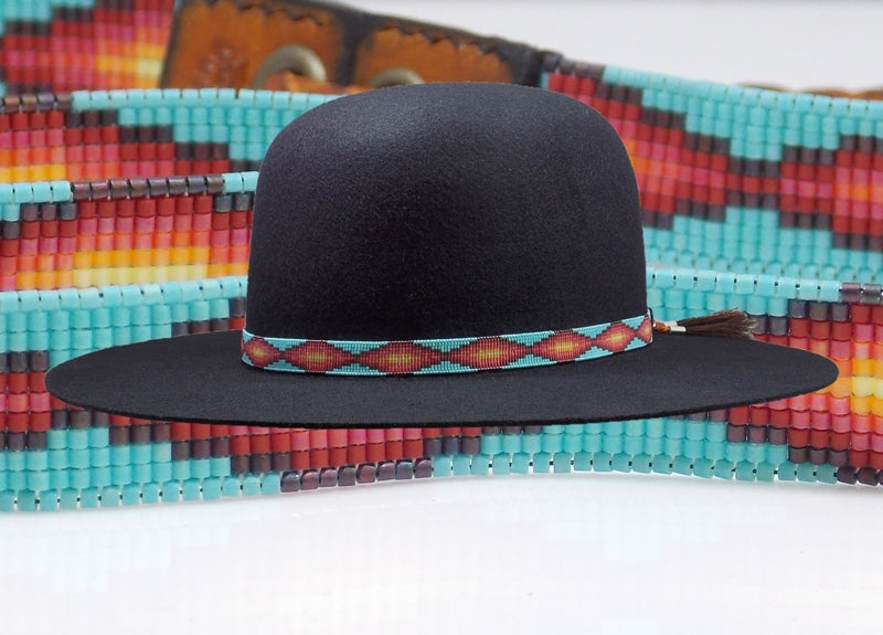 Native American Beaded Sunset Navajo Rug Hat Band
