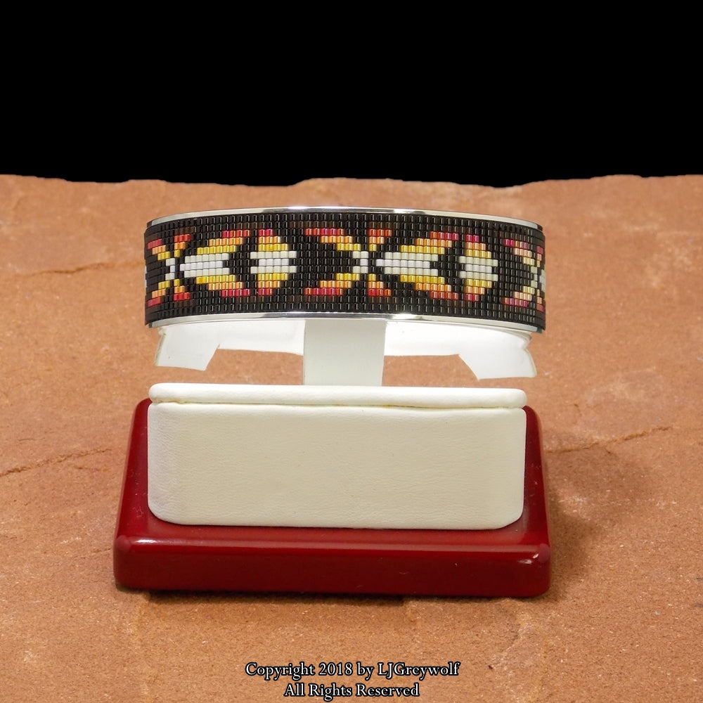 Medicine Bow Sterling Silver Beaded Inlay Cuff Bracelet