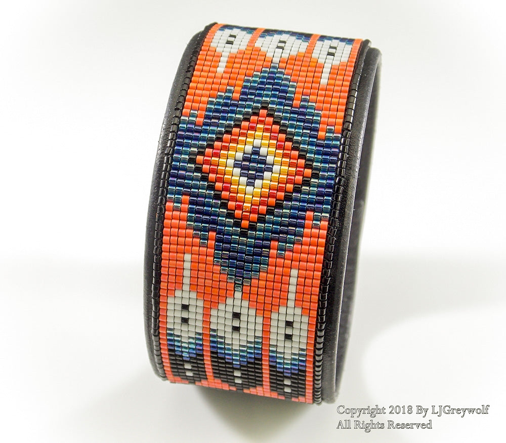 Feathers And Flames Sunset Orange Beaded Leather Cuff Bracelet