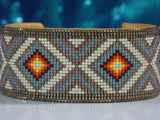 Silver Diamondback Native American Beaded Bracelet