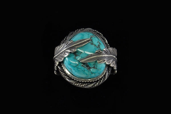 Heavy Sterling Silver Ring With A Sleeping Beauty Blue Turquoise Nugget