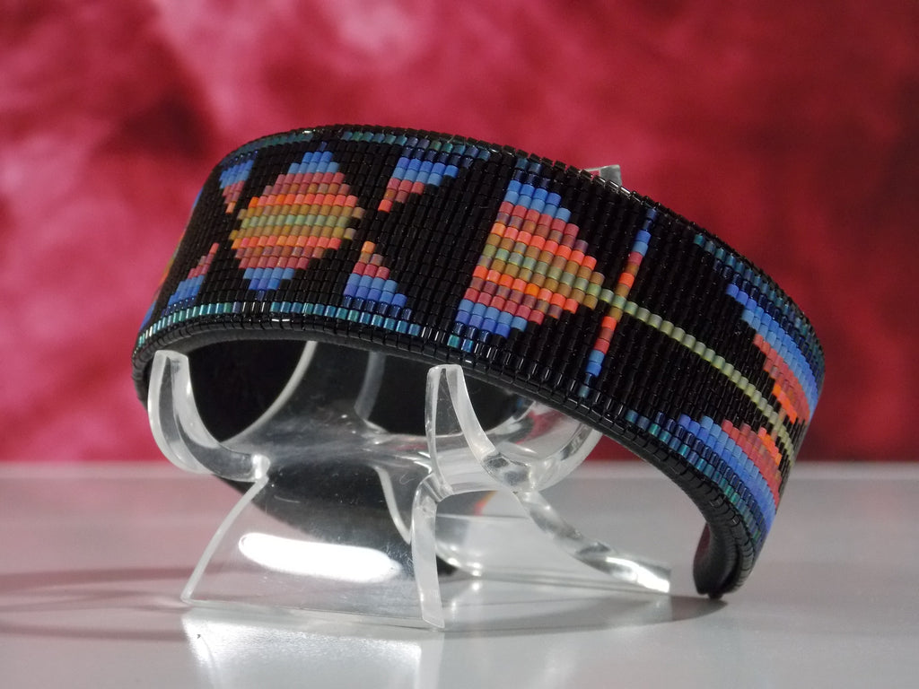Native American Beaded Southwest Sunset Cuff Bracelet