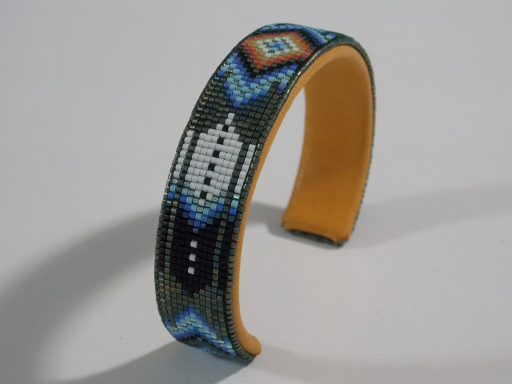 Native American Beaded Feather Flames Cuff Bracelet