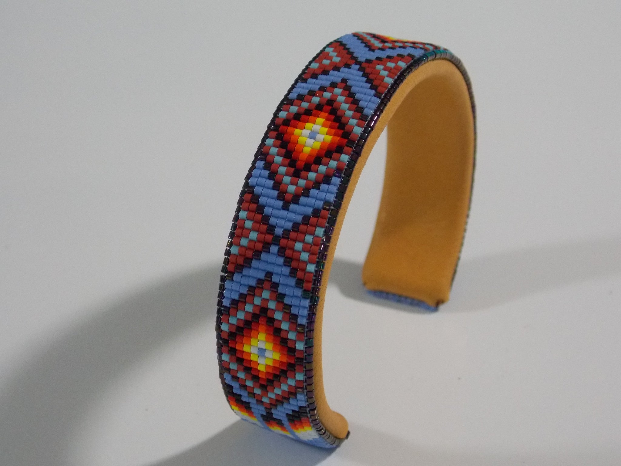 Native American Beaded Blue Diamondback Cuff Bracelet