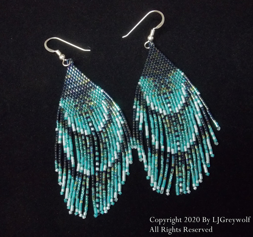 Birds of a Feather Peacock Feathers Beaded Earrings
