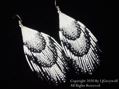 Birds of a Feather Eagle Feathers Beaded Earrings