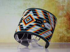 NATIVE AMERICAN BEADED TURQUOISE CHEVRON CUFF BRACELET