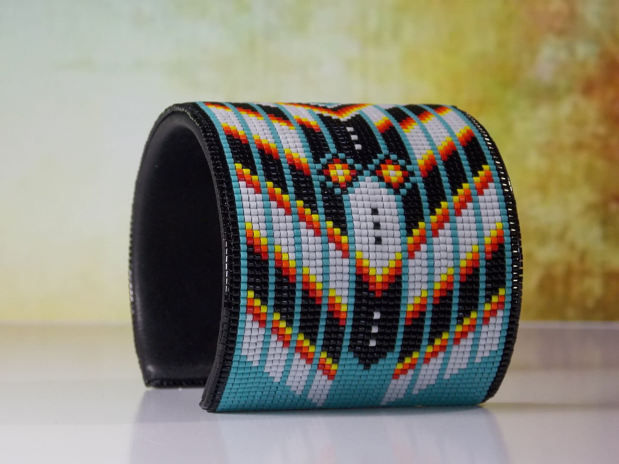 Native American Beaded Turquoise Chevron Cuff Bracelet Ljgreywolf