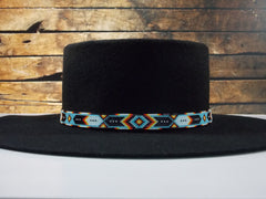 Native American Beaded Cherokee Blue Chevron Hat Band