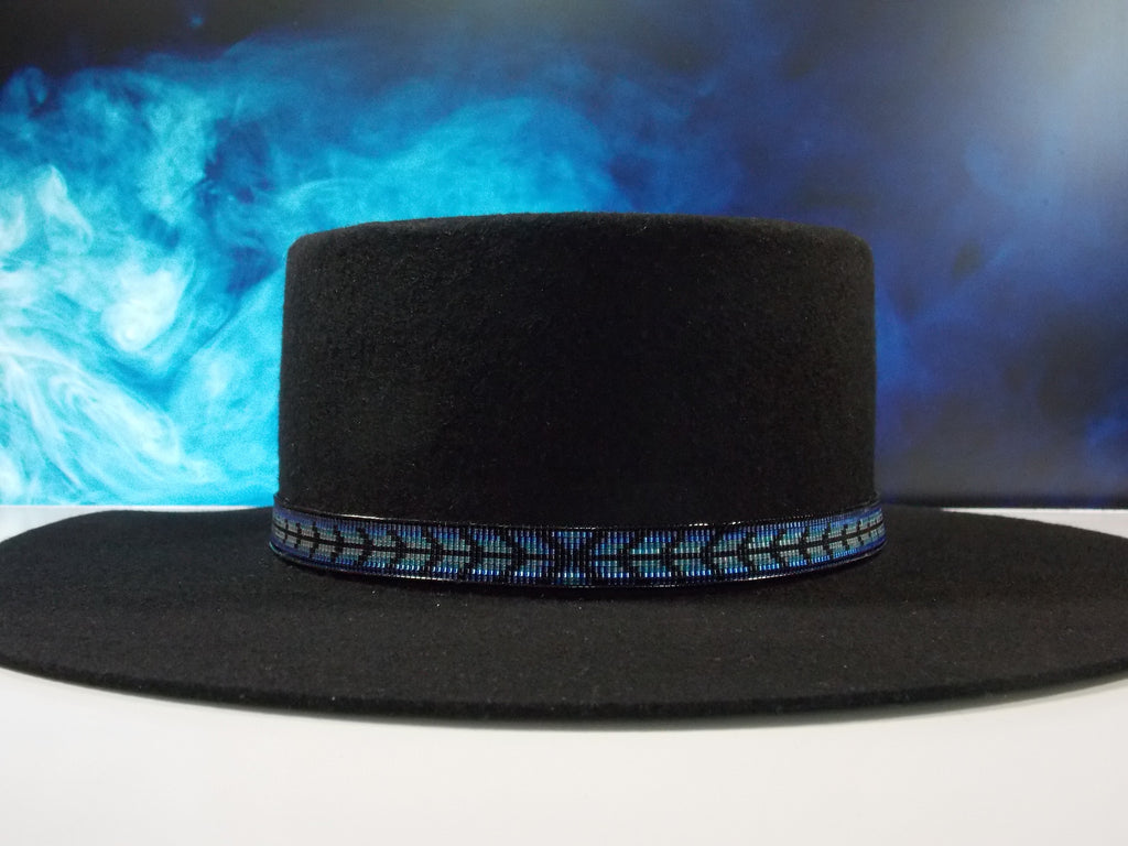 Native American Beaded Blue Herringbone Hat Band