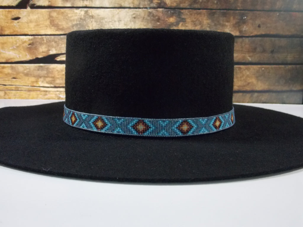 Native American Beaded Blue Gray Diamond Back Hat Band