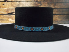 Beaded Blue Gray Diamond Back Hat Band