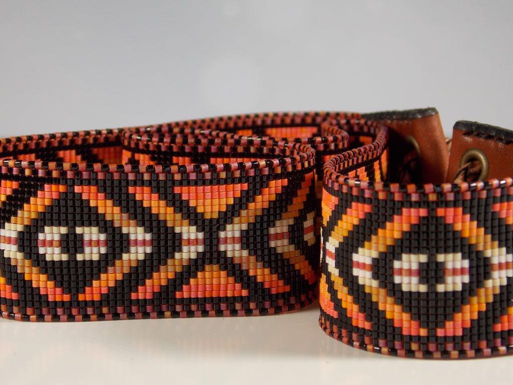 Beaded Eye Of The Medicine Man Hat Band In Shades Of Orange
