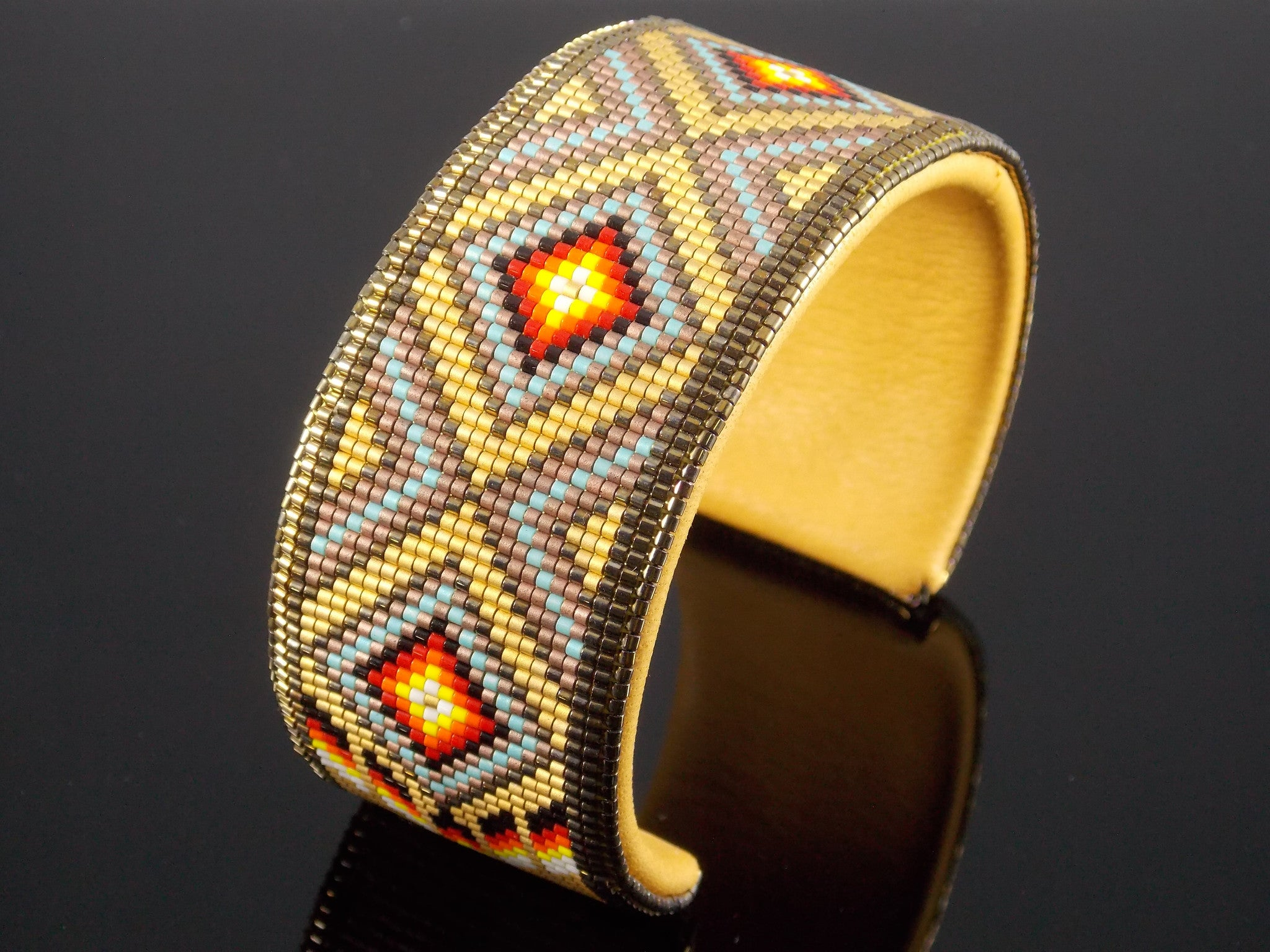 Native American Beaded Gold Diamond Back Cuff Bracelet