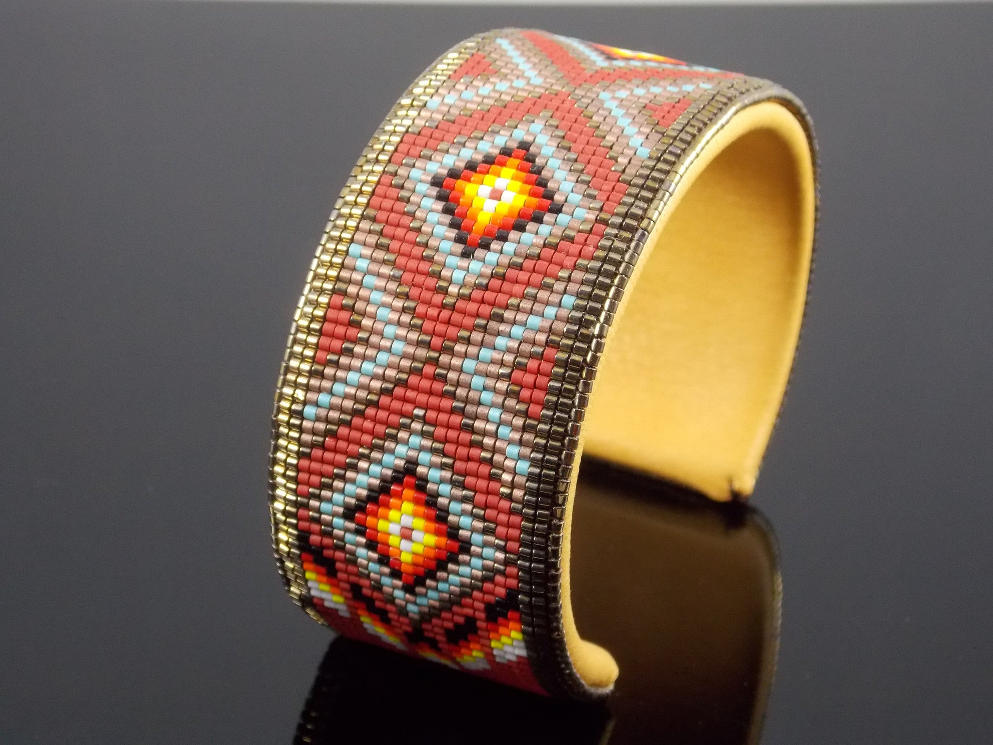 Native American Beaded Diamond Back Cuff Bracelet