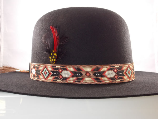 Native American Beaded Cherokee Copper Chevron Hat Band
