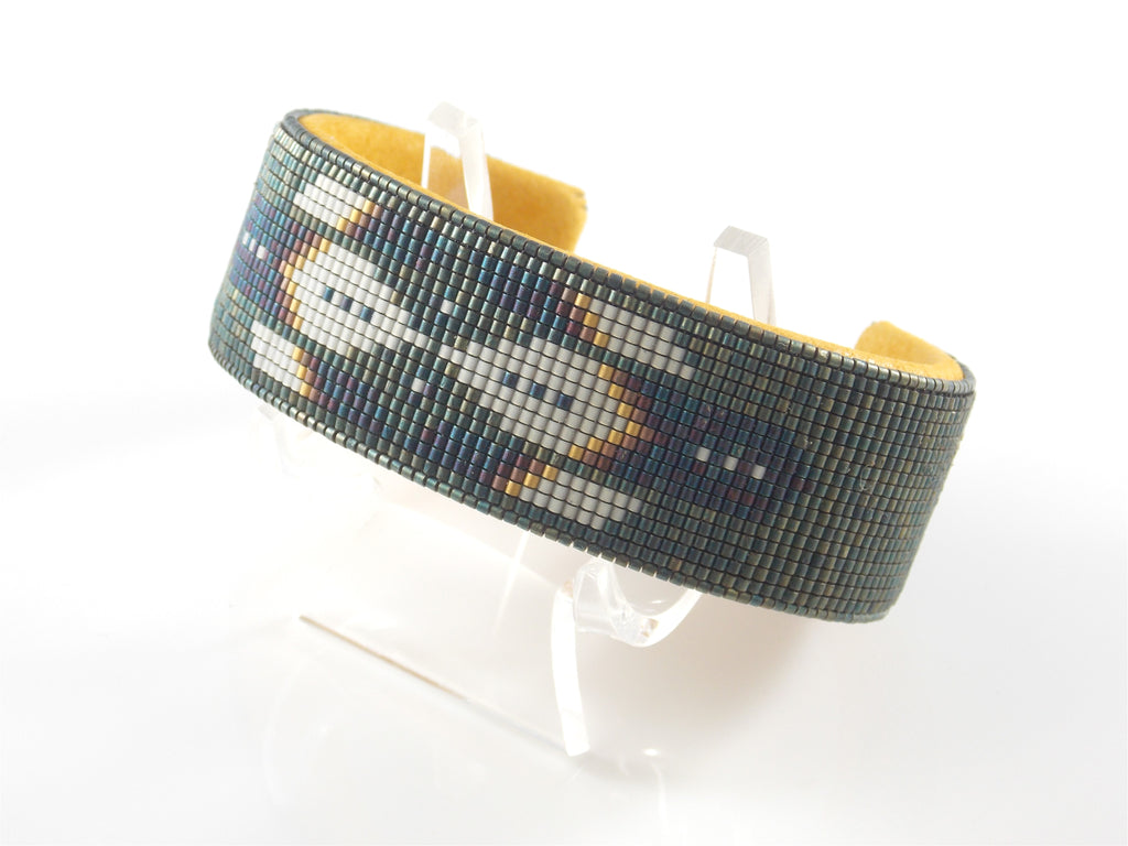 Patina Phoenix American Indian Beaded Copper Cuff Bracelet