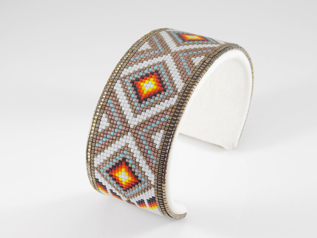 Native American Beaded Pearl Diamond Back Cuff Bracelet