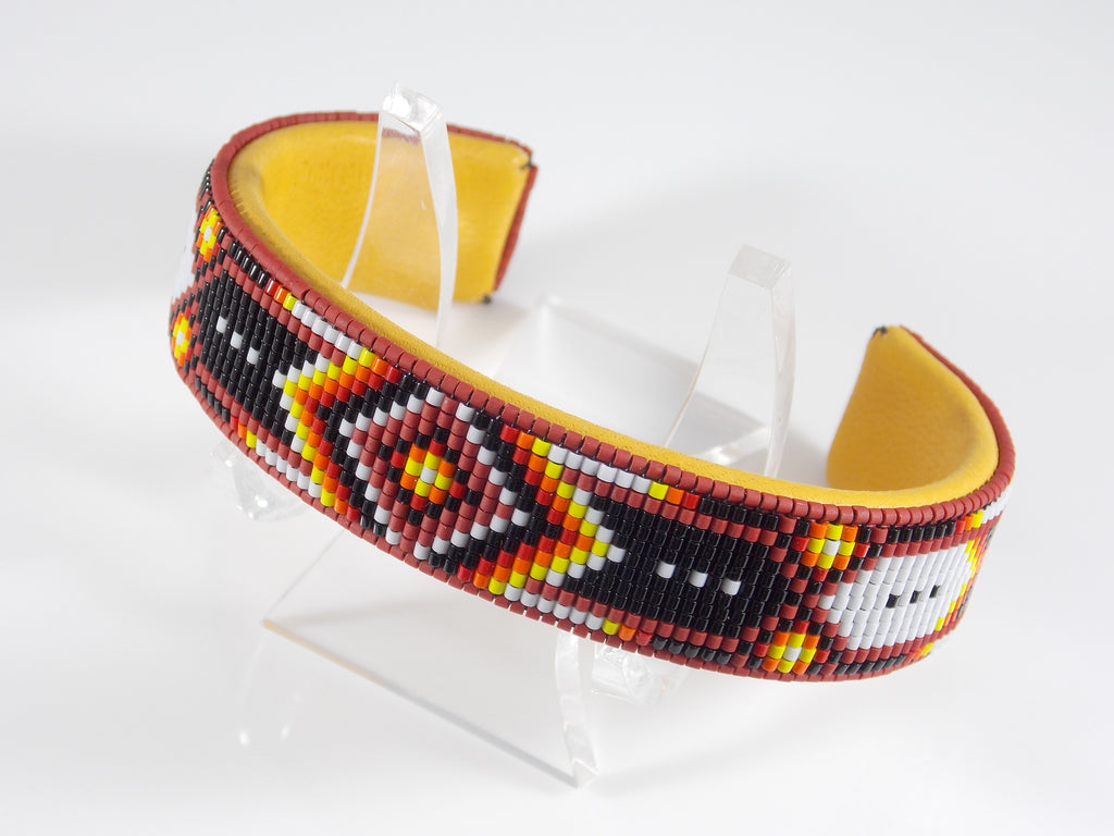 Native American Beaded Pipestone Chevron Cuff Bracelet
