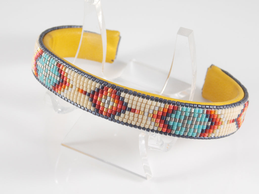 Squash Blossom Native American Beaded Cuff Bracelet