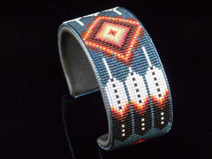 Feather And Flame Native American Beaded Bracelet