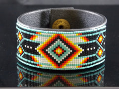 Native American Leather Bracelet Beaded In Turquoise